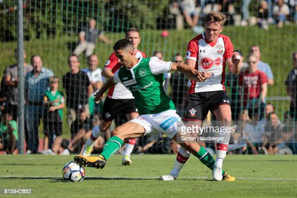 Armani Little from FC Southampton in action during the preseason friendly match between FC Southampton and St Gallen at Sportanlage Kellen on July 15...