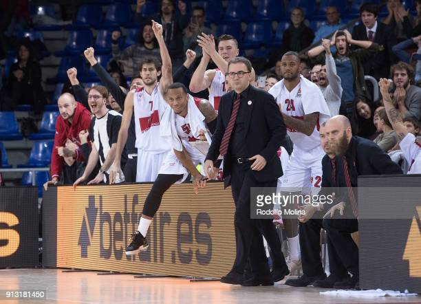 Armani Milan bench players celebrates during the 2017/2018 Turkish Airlines EuroLeague Regular Season Round 21 game between FC Barcelona Lassa and AX...