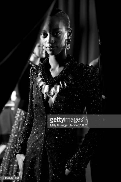 Armani models backstage stage during The Fashion Awards 2019 held at Royal Albert Hall on December 02 2019 in London England