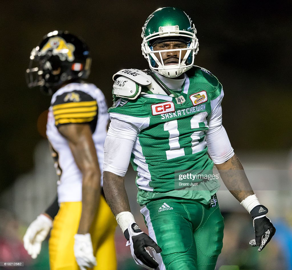 Armanti Edwards #12 of the Saskatchewan Roughriders after a great diving catch for a touchdown in the first half of the game between the Hamilton Tiger-Cats and Saskatchewan Roughriders at Mosaic Stadium on September 24, 2016 in Regina, Canada.