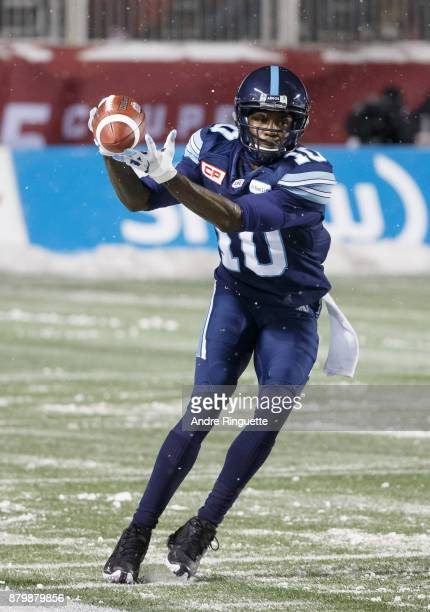 Armanti Edwards of the Toronto Argonauts makes a fingertip catch against the Calgary Stampeders during the second half of the 105th Grey Cup...