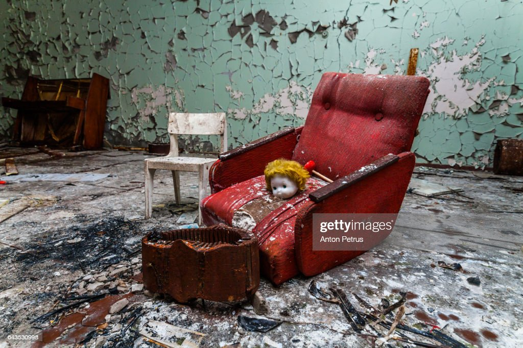 Armchair in a kindergarten in the Chernobyl zone. Prypiat, Ukraine : Stock Photo