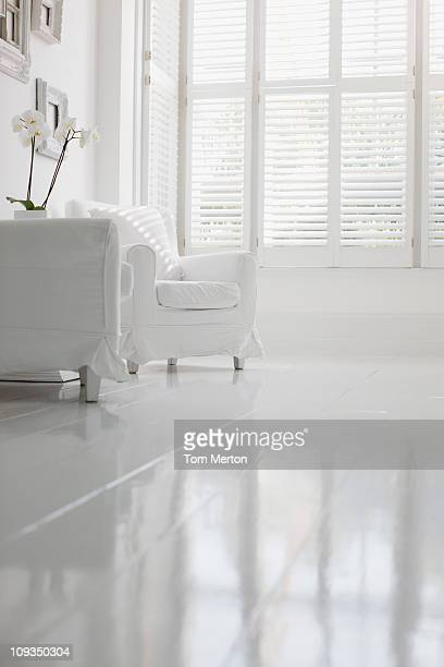Armchair in elegant white living room