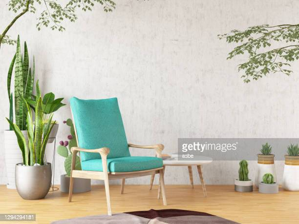 armchair with plants - tropical tree stock pictures, royalty-free photos & images