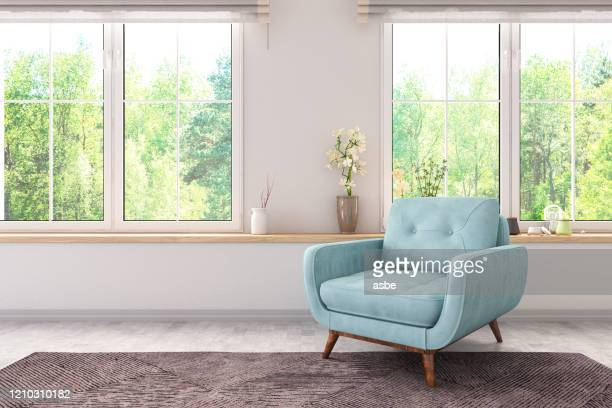 armchair with windows - armchair stock pictures, royalty-free photos & images