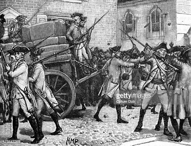 Armed escort for the stamped paper New York 1765 Stamp Act of 1765 imposed direct tax by British Government on American colonies It required...