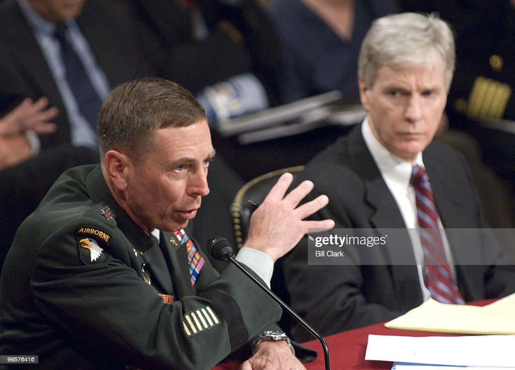 Armed Forces Commander in Iraq Gen. David Petraeus and U.S. Ambassador to Iraq Ryan Crocker testify during the Senate Foreign Relations Committee hearing on 'Iraq: The Crocker-Petraeus Report'on Tuesday, Sept. 11, 2007.