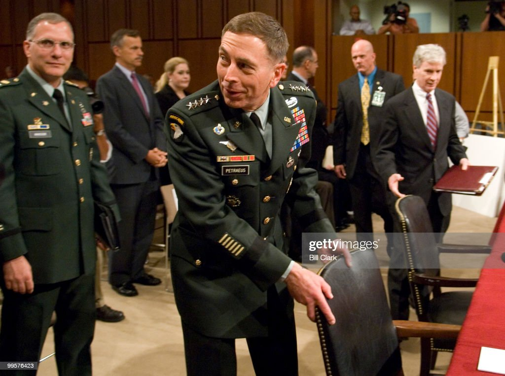 Armed Forces Commander in Iraq Gen. David Petraeus and U.S. Ambassador to Iraq Ryan Crocker arrive to testify during the Senate Foreign Relations Committee hearing on 'Iraq: The Crocker-Petraeus Report'on Tuesday, Sept. 11, 2007.