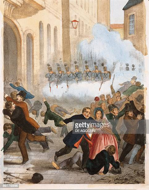 Armed forces firing on rebellion crowd in a city Vienna Austria
