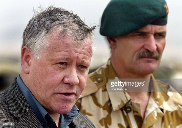 Armed Forces Minister Adam Ingram and Brigadier Roger Lane Commander of 3 Commando Brigade of the British Royal Marines speak with the news media...