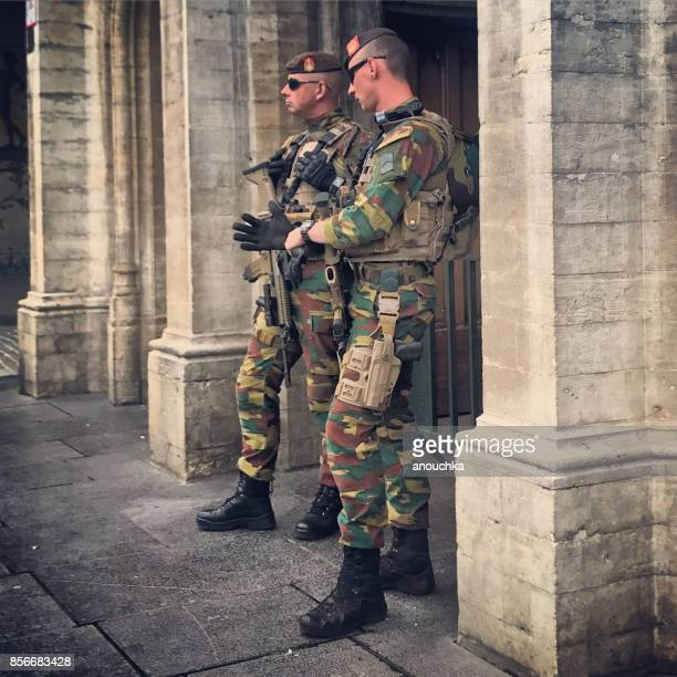armed forces patrolling brussels city center, belgium - belgian culture stock pictures, royalty-free photos & images