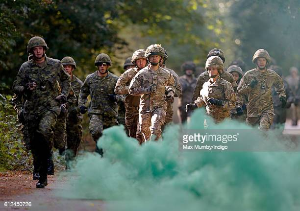 Armed forces personnel take part in the Countess of Wessex Cup interservices competition at RAF Wittering on October 4 2016 in Stamford England The...