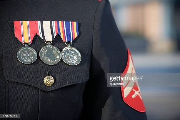 Armed Forces Uniform Close Up with Medals and Badges, Copyspace