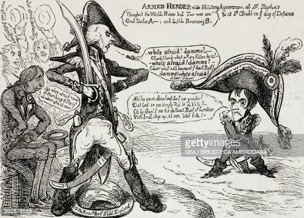 Armed heroes Addington and Napoleon facing each other across a narrow channel from a caricature by James Gillray illustration from the magazine The...