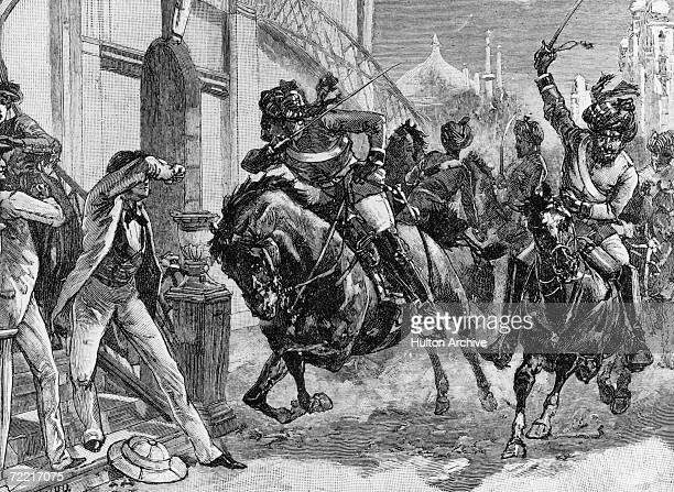 Armed horsemen attacking civilians in the streets of Delhi during the Indian Mutiny 1857