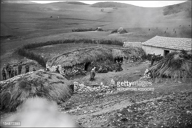 Armed intervention of French soldiers in a village during 'Operation Bigeard' in March 1956 when an armed outbreak in SoukAhras South of Constantine...