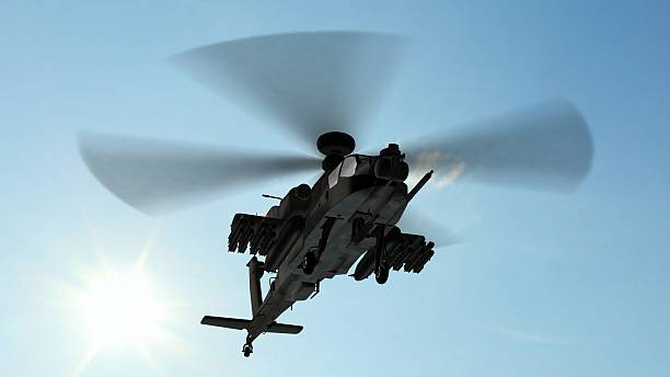 armed longbow apache helicopter in flight