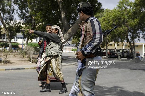 Armed members of the Peoples Committee waiting at a checkpoint in downtown of Aden southern of Yemen on January 27 2015 People's Committee members...