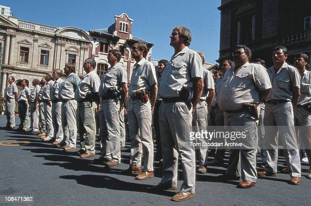 Armed members of the South African far right group the Afrikaner Weerstandsbeweging at a rally in Pretoria in the run up to the country's first...