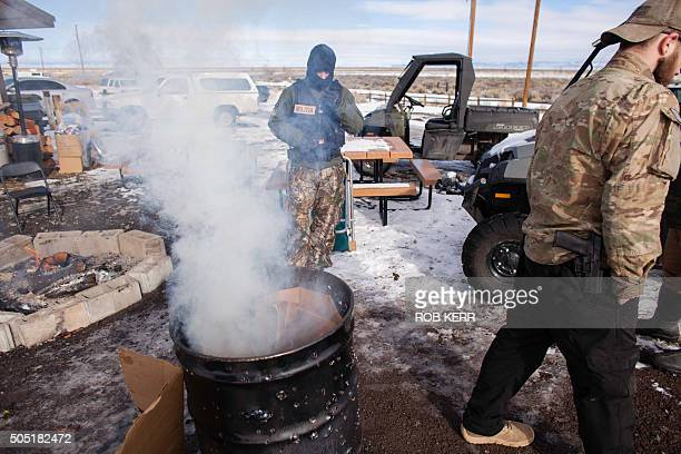 Armed occupiers burn garbage and stay warm at the Malheur National Wildlife Refuge Headquarters in Burns Oregon on January 15 2016 They are part of...