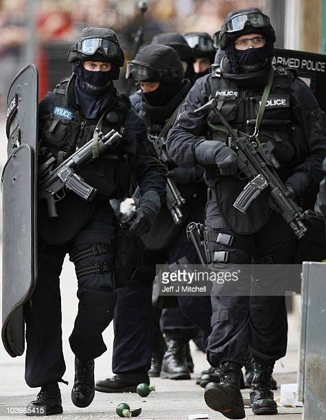 Armed officers at the scene of an ongoing incident on Dumbarton Road on September 10 2010 in Glasgow Scotland Armed response units were called to a...