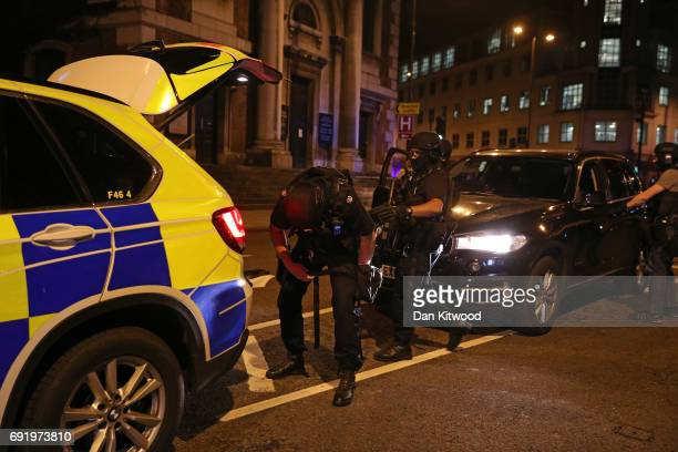 Armed police at London Bridge on June 3 2017 in London England Police have responded to reports of a van hitting pedestrians on London Bridge in...