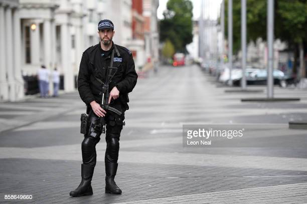 Armed police block Exhibition Road after a car mounted the pavement and collided with pedestrians outside the Natural History Museum on October 7...