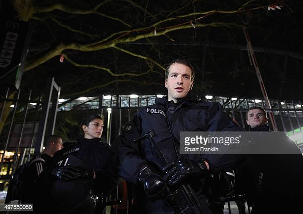 Armed Police by the stadium after the cancellation of the International friendly match between Germany and The Netherlands at the AWD Arena on...