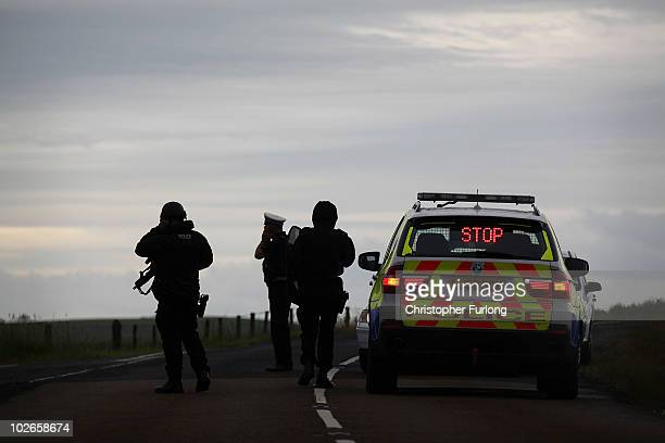 Armed police continue their search for armed fugitive Raoul Moat into the evening around the village of Rothbury on July 6, 2010 in Rothbury,...