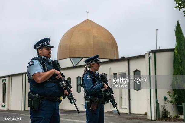 Armed police guard Al Noor mosque after it was officially reopened following last weeks attack on March 23 2019 in Christchurch New Zealand 50 people...
