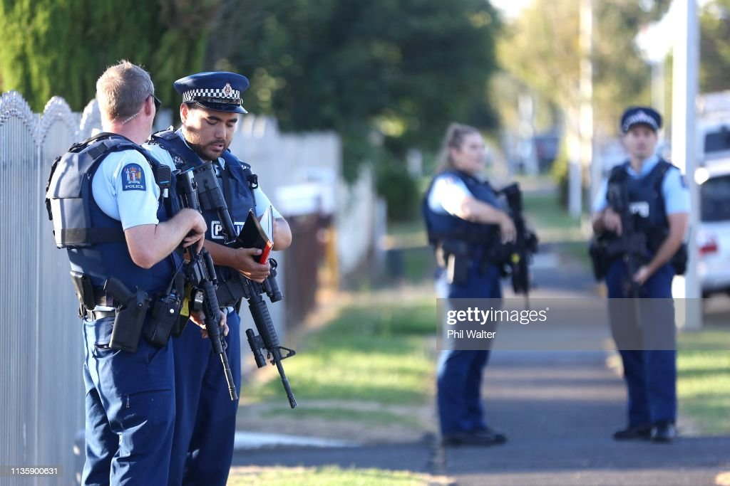 Police Guard Auckland Mosques Following Christchurch Attacks : News Photo