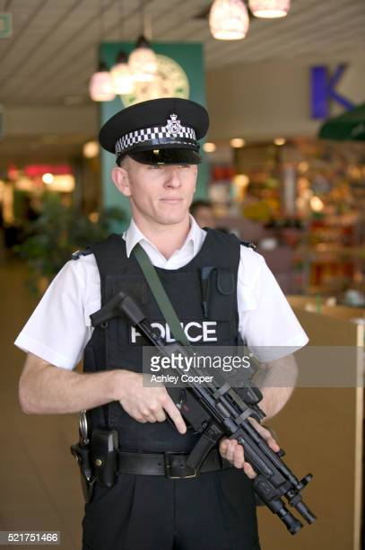 Armed Police Officer at Birmingham Airport in England
