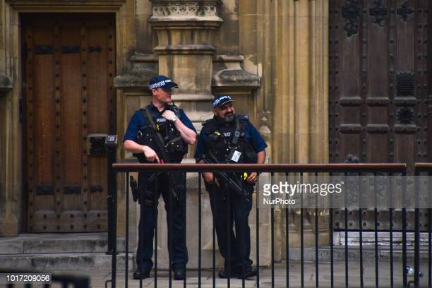 The scene of a suspected terror attack on August 14 in Westminser area gets back to normality London on August 15 2018 The man arrested for driving...
