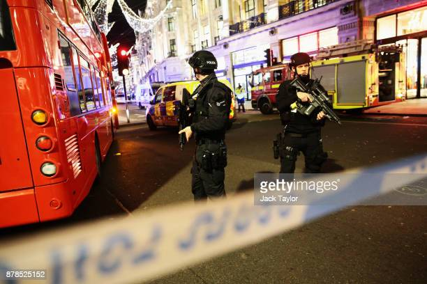 Armed Police officers are seen near Oxford Circus underground station on November 24 2017 in London England Police are responding to reports of an...