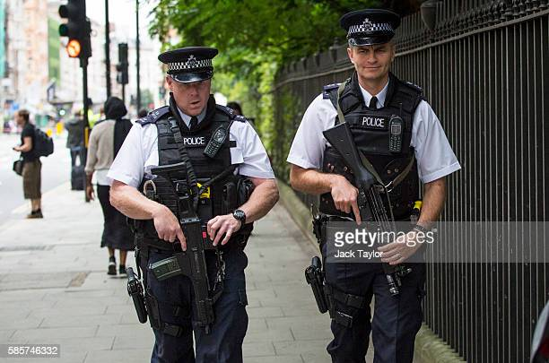 Armed police officers at the scene of a knife attack in Russell Square on August 4 2016 in London England Six people were attacked by a 19 year old...