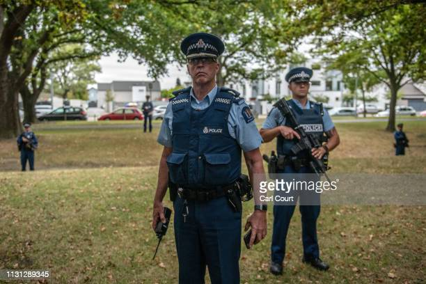 Armed police officers guard the area near Al Noor mosque during a visit by Turkey's Vice-President Fuat Oktay and Foreign Minister Mevlut Cavusoglu...
