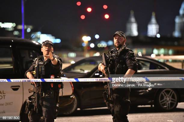 Armed Police officers on London Bridge as police are dealing with a quotmajor incidentquot at London Bridge