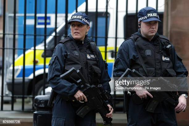 Armed police outside Newcastle Crown Court where David Bieber is on trial accused of murdering traffic policeman Ian Broadhurst on Boxing Day Bieber...