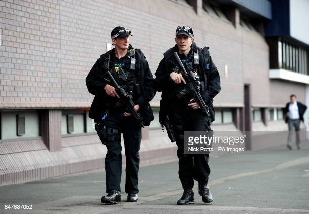 Armed police outside the ground before the Premier League match at The Hawthorns West Bromwich