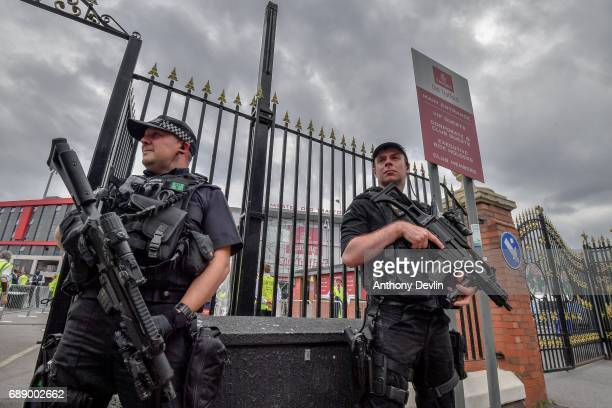 Armed police patrol around Old Trafford Cricket Ground ahead of a Courteeners concert this evening on May 27 2017 in Manchester England Security has...