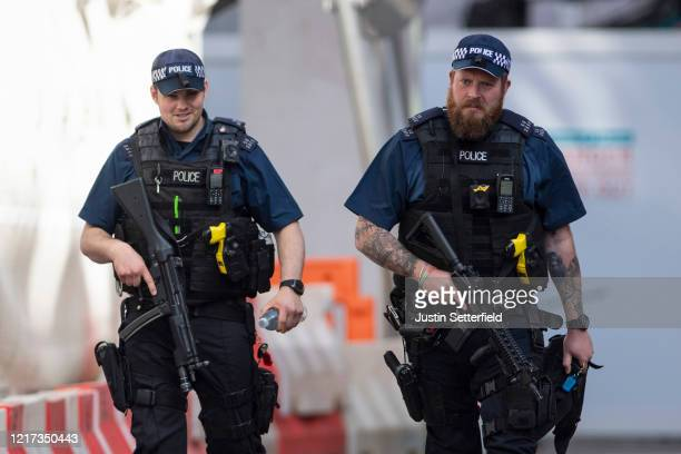 Armed police patrol at St Thomas' Hospital on April 07 2020 in London England Prime Minister Boris Johnson was transferred to the intensive care unit...