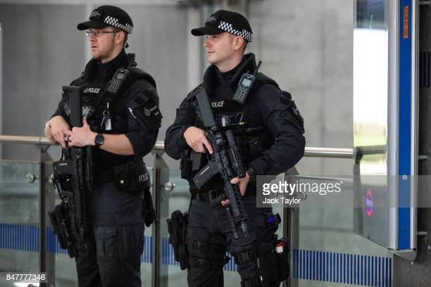 Armed police patrol in Westminster Underground station on September 16 2017 in London England An 18yearold man has been arrested in Dover in...