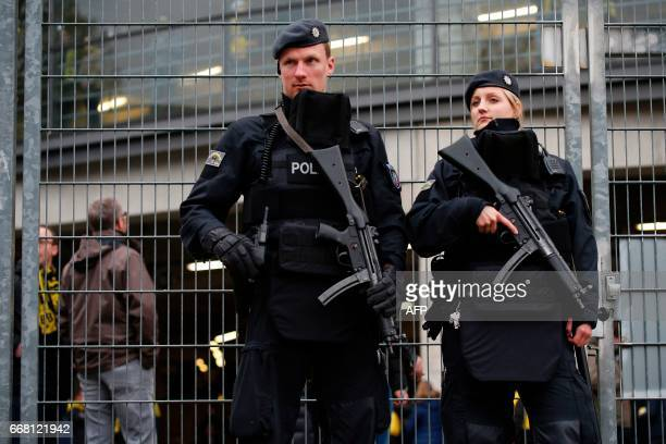 Armed police patrol prior to the UEFA Champions League 1st leg quarterfinal football match BVB Borussia Dortmund v Monaco in Dortmund western Germany...