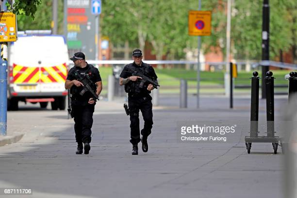 Armed police patrol the streets after last nights terrorist attack May 23 2017 in Manchester England An explosion occurred at Manchester Arena as...