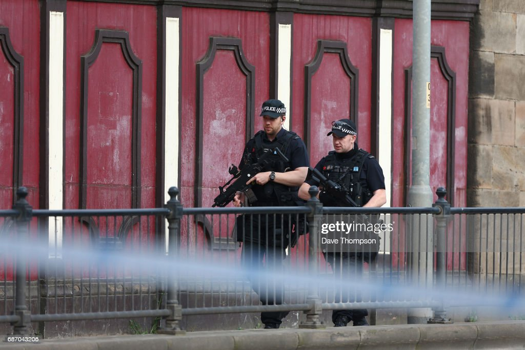 Armed police patrol the streets the morning after a terrorist attack on May 23, 2017 in Manchester, England. An explosion occurred at Manchester Arena as concert goers were leaving the venue after Ariana Grande had performed. Greater Manchester Police are treating the explosion as a terrorist attack and have confirmed 22 fatalities and 59 injured.