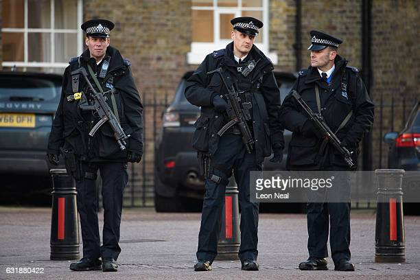 Armed police stand guard as British Prime Minister Theresa May delivers her keynote speech on Brexit at Lancaster House on January 17 2017 in London...