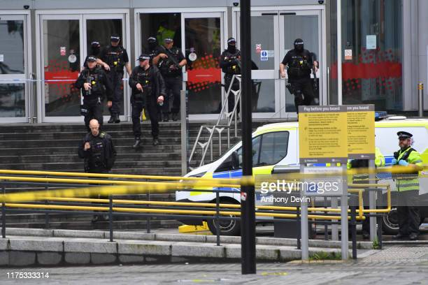 Armed police surround Arndale shopping centre where a man allegedly stabbed five people on October 11 2019 in Manchester England A man in his 40s was...