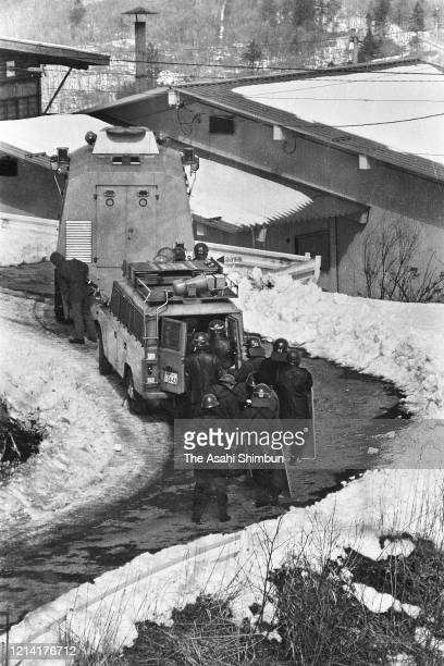 Armed police vehicle is deployed near the Asama Sanso lodge where the United Red Army members take a hostage on February 21 1972 in Karuizawa Nagano...