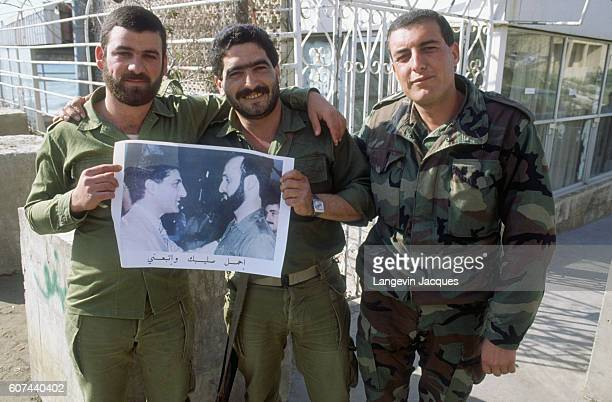 Armed soldiers with the Christian Lebanese Forces also known as the Lebanese armed forces led by Samir Geagea pose for a portrait These soldiers are...