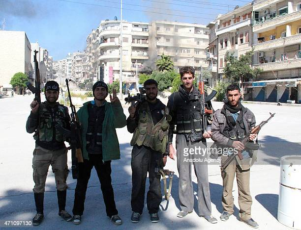 Armed Syrian opponents are seen after they seized the control of the Jisr alShughur town in Idlib Syria on April 25 2015 Syrian opponents carried out...